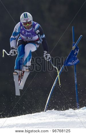 GARMISCH PARTENKIRCHEN, GERMANY. Feb 12 2011: Ferran Terra (SPA) takes to the air competing in the men's downhill at the 2011 Alpine skiing World Championships