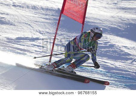 GARMISCH PARTENKIRCHEN, GERMANY. Feb 10 2011: Marusa Ferk (SLO) whilstcompeting in the women's downhill training at the 2011 Alpine Skiing World Championships