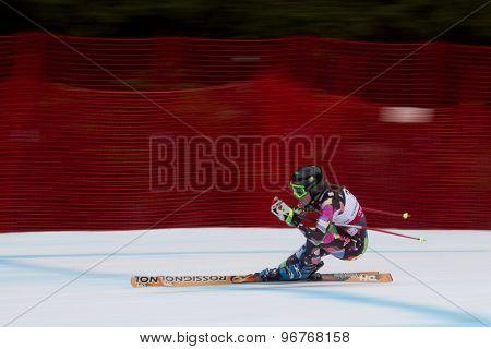 GARMISCH PARTENKIRCHEN, GERMANY. Feb 11 2011: Maria-Belen Simari-Birkner (ARG) competing in the women's downhill at the 2011 Alpine skiing World Championships.