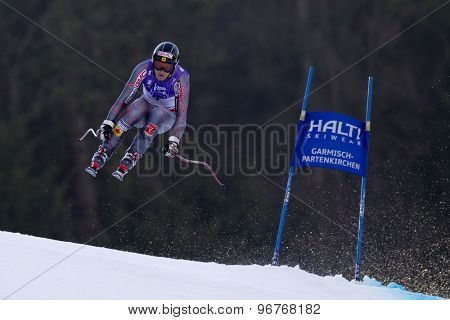 GARMISCH PARTENKIRCHEN, GERMANY. Feb 12 2011: Benjamin Thomsen (CAN) takes to the air competing in the men's downhill at the 2011 Alpine skiing World Championships