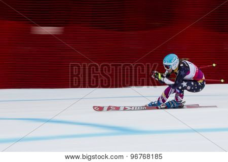 GARMISCH PARTENKIRCHEN, GERMANY. Feb 11 2011: Julia Mancuso (USA) competing in the women's downhill race on the Kandahar race piste at the 2011 Alpine skiing World Championships