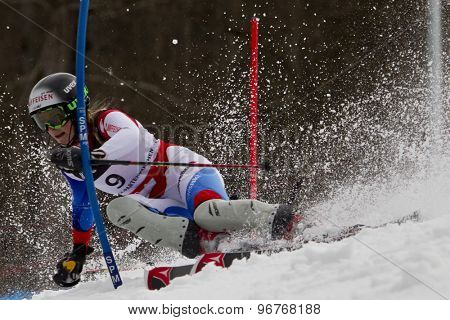 GARMISCH PARTENKIRCHEN, GERMANY. Feb 11 2011: Lara Gut (SUI) competing in the women's slalom at the 2011 Alpine skiing World Championships.