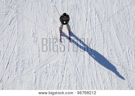 GARMISCH PARTENKIRCHEN, GERMANY. Feb 02 2011: Preview images for the 2011 Alpine skiing World Championships A skier on the piste casts a long shadow