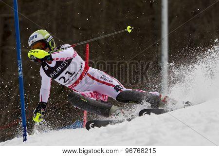 GARMISCH PARTENKIRCHEN, GERMANY. Feb 11 2011: Anna Fenninger (AUT) competing in the women's slalom at the 2011 Alpine skiing World Championships.