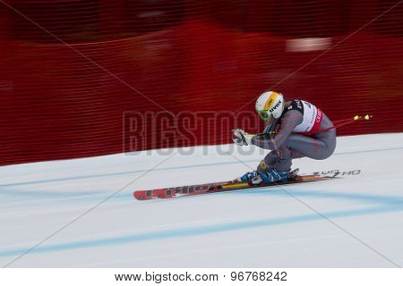 GARMISCH PARTENKIRCHEN, GERMANY. Feb 11 2011: Britt Janyk (CAN) speeds down the course competing in the women's downhill at the 2011 Alpine skiing World Championships.
