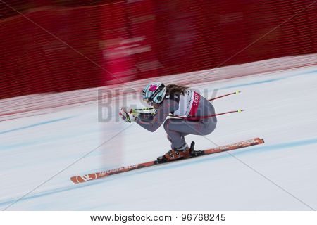 GARMISCH PARTENKIRCHEN, GERMANY. Feb 11 2011: Marie-Michele Gagnon (CAN) \speeds down the course competing in the women's downhill at the 2011 Alpine skiing World Championships.