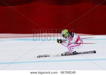 GARMISCH PARTENKIRCHEN, GERMANY. Feb 11 2011: Anna Fenninger (AUT) speeds down the course competing in the women's downhill l at the 2011 Alpine skiing World Championships.