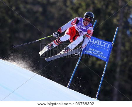 GARMISCH PARTENKIRCHEN, GERMANY. Feb 10 2011: Roger Vidosa (AND) takes to the air competing in the men's downhill training at the 2011 Alpine Skiing World Championships