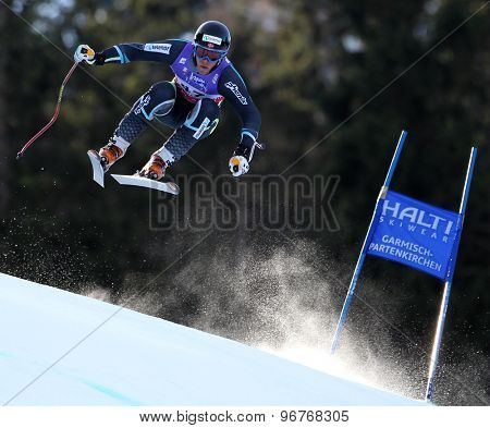 GARMISCH PARTENKIRCHEN, GERMANY. Feb 10 2011: Lars-Elton Myhre (NOR) takes to the air competing in the men's downhill training at the 2011 Alpine Skiing World Championships