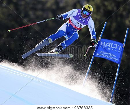 GARMISCH PARTENKIRCHEN, GERMANY. Feb 10 2011: Igor Laikert (BIH) takes to the air competing in the men's downhill training at the 2011 Alpine Skiing World Championships