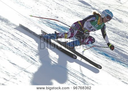 GARMISCH PARTENKIRCHEN, GERMANY. Feb 10 2011: Julia Mancuso (USA) whilstcompeting in the women's downhill training at the 2011 Alpine Skiing World Championships