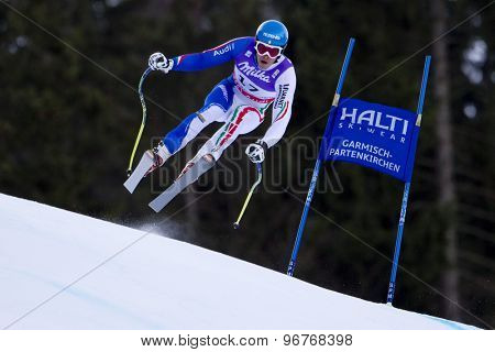 GARMISCH PARTENKIRCHEN, GERMANY. Feb 10 2011: Christof Innerhofer (ITA) takes to the air competing in the men's downhill training at the 2011 Alpine Skiing World Championships