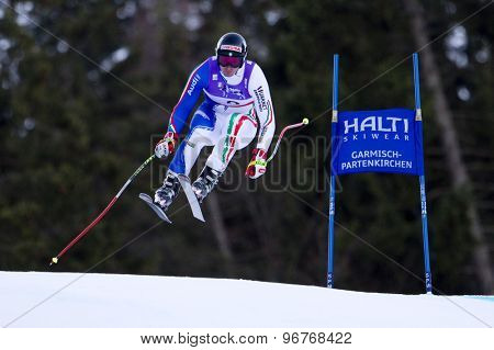 GARMISCH PARTENKIRCHEN, GERMANY. Feb 10 2011: Dominik Paris (ITA) takes to the air competing in the men's downhill training at the 2011 Alpine Skiing World Championships