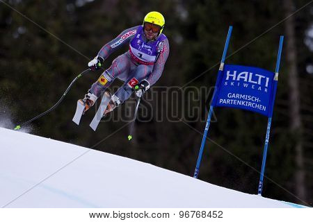 GARMISCH PARTENKIRCHEN, GERMANY. Feb 10 2011: Jan Hudec (CAN)  takes to the air competing in the men's downhill training at the 2011 Alpine Skiing World Championships