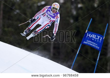 GARMISCH PARTENKIRCHEN, GERMANY. Feb 10 2011: Guillermo Fayed (FRA) takes to the air competing in the men's downhill training at the 2011 Alpine Skiing World Championships