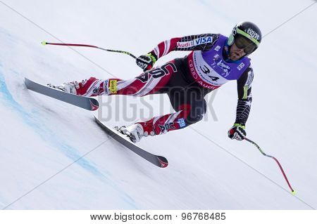 GARMISCH PARTENKIRCHEN, GERMANY. Feb 10 2011: Travis Ganong (USA) competing in the men's downhill training at the 2011 Alpine Skiing World Championships