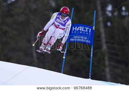 GARMISCH PARTENKIRCHEN, GERMANY. Feb 10 2011: Natko Zrncic-Dim (CRO) takes to the air competing in the men's downhill training at the 2011 Alpine Skiing World Championships