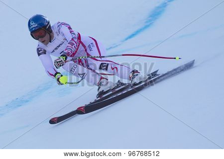 GARMISCH PARTENKIRCHEN, GERMANY. Feb 09 2011: Benjamin Raich (AUT) whilst competing in the men's super giant slalom race at the 2011 Alpine skiing World Championships