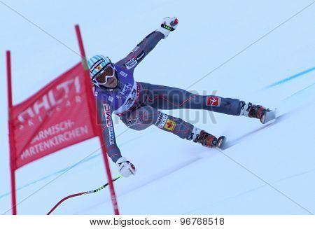 GARMISCH PARTENKIRCHEN, GERMANY. Feb 08 2011: Marie-Michele Gagnon (CAN) whilst competing in the women's super giant slalom race at the 2011 Alpine skiing World Championships