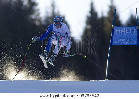 GARMISCH PARTENKIRCHEN, GERMANY. Feb 09 2011:  Werner Heel (ITA) whilst competing in the men's super giant slalom race at the 2011 Alpine skiing World Championships