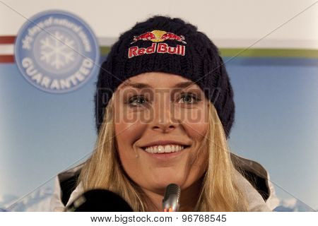 GARMISCH PARTENKIRCHEN, GERMANY. Feb 07 2011: Lindsey Vonn from the US Ski team at the USSA press conference prior to the 2011 Alpine skiing World Championships