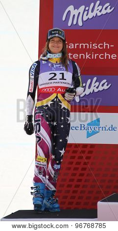 GARMISCH PARTENKIRCHEN, GERMANY. Feb 08 2011: Julia Mancus second placed racer reacts in the finish area of the women's race on the Kandahar race piste at the 2011 Alpine skiing World Championships