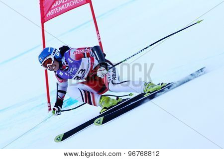 GARMISCH PARTENKIRCHEN, GERMANY. Feb 08 2011: Karolina Chrapek POL whilst competing in the women's super giant slalom race at the 2011 Alpine skiing World Championships