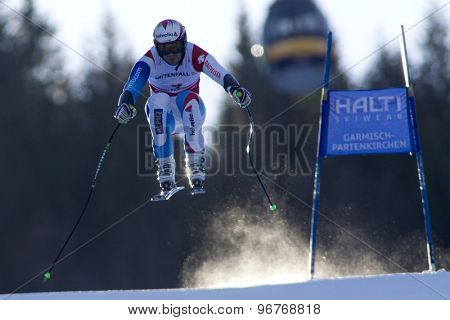 GARMISCH PARTENKIRCHEN, GERMANY. Feb 09 2011: Sandro Viletta (SUI) whilst competing in the men's super giant slalom race at the 2011 Alpine skiing World Championships