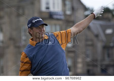 ST ANDREWS, SCOTLAND. July 18 2010: Retief GOOSEN from South Africa in action during the final round of The Open Championship   played on The Royal and Ancient Old Course