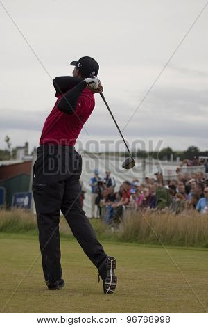 ST ANDREWS, SCOTLAND. July 18 2010: Tiger WOODS from the USA in action during the final round of The Open Championship   played on The Royal and Ancient Old Course.