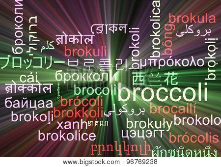 Background concept wordcloud multilanguage international many language illustration of broccoli glowing light
