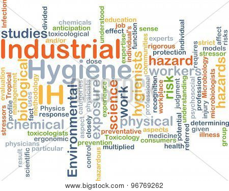 Background concept wordcloud illustration of industrial hygiene IH