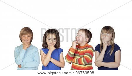 Four pensive children isolated on a white background