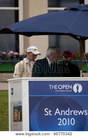 ST ANDREWS, SCOTLAND. July 17 2010: Marcel SIEM from Germany and Ivor Robson the official announcer  during the third round of The Open Championship   played on The Royal and Ancient Old Course