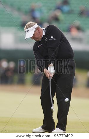 ST ANDREWS, SCOTLAND. July 15 2010: Colin MONTGOMERIE from Scotland in action on the first day of The Open Championship   played on The Royal and Ancient Old Course