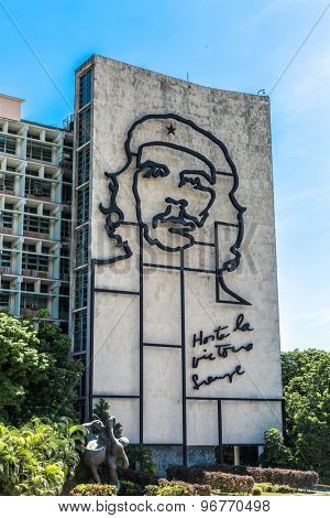 HAVANA, CUBA - CIRCA JULY 2015: Ministry of the Interior building with face of Che Guevara located in Revolution Square, Cuba.