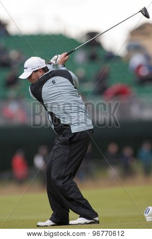 ST ANDREWS, SCOTLAND. July 15 2010: Ben CURTIS from the USA in action on the first day of The Open Championship   played on The Royal and Ancient Old Course