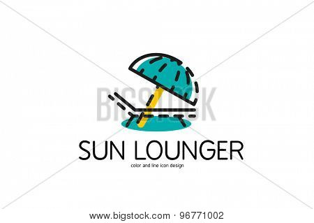 Color line icon for flat design isolated on white. Sun lounger