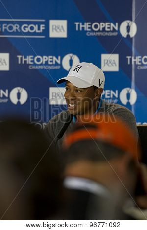 ST ANDREWS, SCOTLAND. July 13 2010:  Tiger WOODS from the USA at his press conference during The Open Championship   played on The Royal and Ancient Old Course