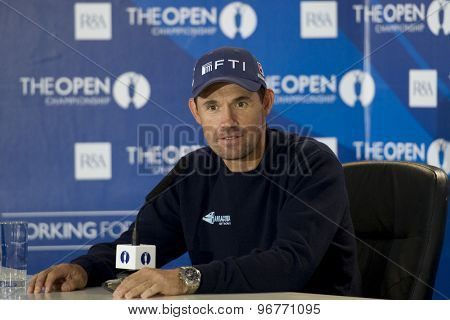 ST ANDREWS, SCOTLAND. July 11 2010: Padraig HARRINGTON (IRL) at his press conference on the preview day of The 150th Open Championship played on The Royal and Ancient Old Course