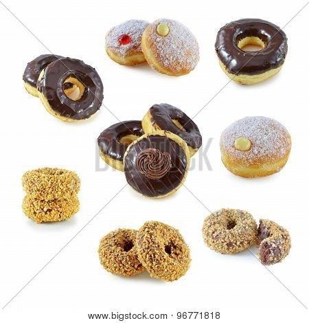 Doughnuts On A White Background