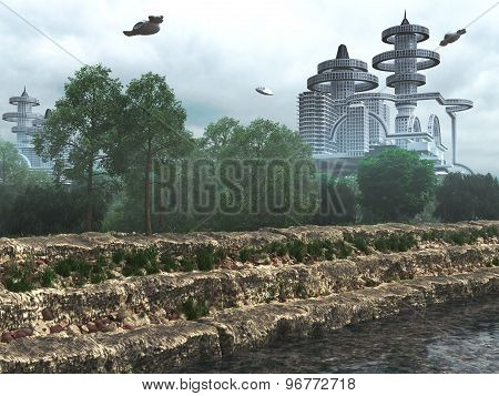 view of Futuristic City with flying spaceships old and modern concept