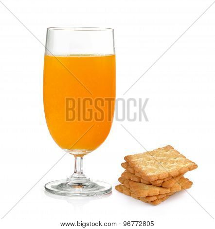 Cracker And Orange Juice On The White Background