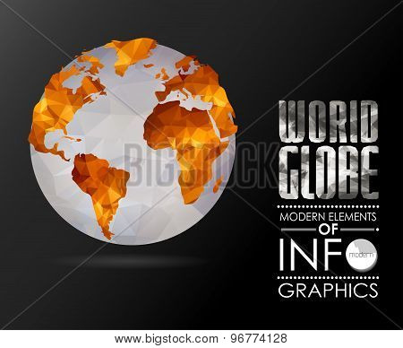 Vector world globe, triangular map of the earth