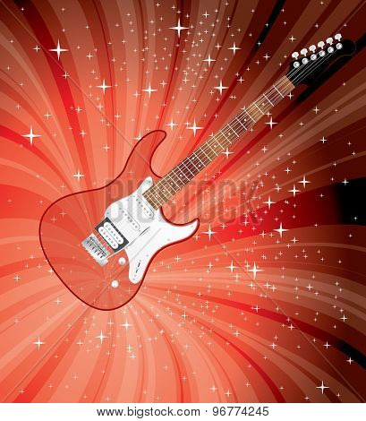 vector transparent electric guitar on red starburst