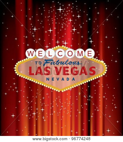 vector Las Vegas sign on red velvet with stars