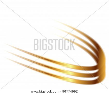 Dynamic golden abstract motion on white background vector