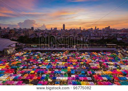 Bangkok Flea market aerial view