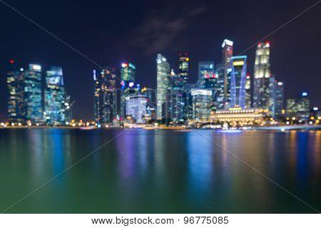 Bokeh lights at night of Singapore city