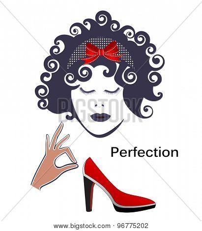 woman hand shoe